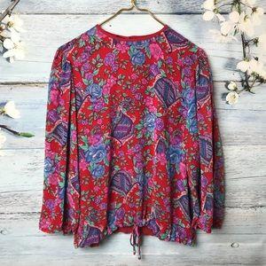 Vintage Floral Red Blouse